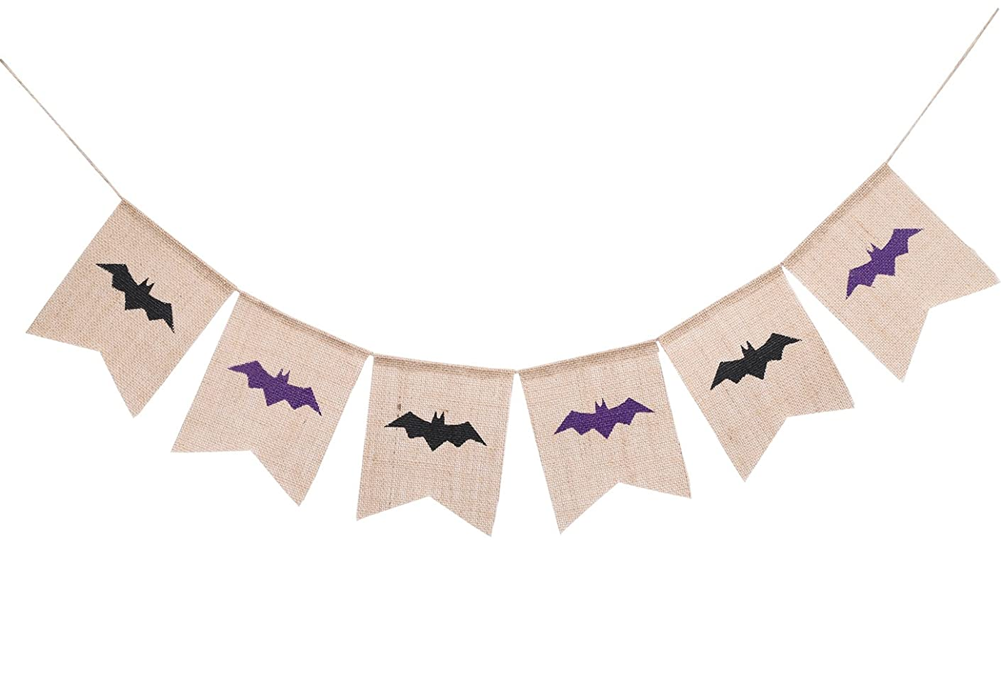 Bat Halloween Burlap Banner Garland for Home, School, Office, Party Decorations Wall Décor Hanging Photo Props Bunting Sign