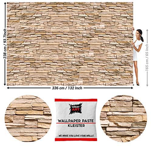 GREAT ART Photo Carta da Parati – Pietra bianca – Decorazione pietra in 3d per la parete – Muro di pietra Ardesia Pietra arenaria Stonewall – 336 x 238 cm 8 pezzi e colla inclusa