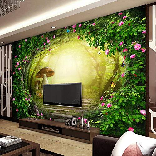 Fototapeten Blumen Rebe Pilz Haus Forest Living Room Background 150x105 cm Vlies Wand Tapete Wohnzimmer Schlafzimmer Büro Flur Dekoration Wandbilder Moderne Wanddeko