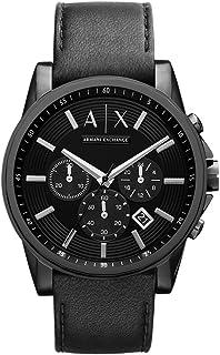Armani Exchange Banks Men's Black Dial Leather Band Chronograph Watch - AX2098, Analog