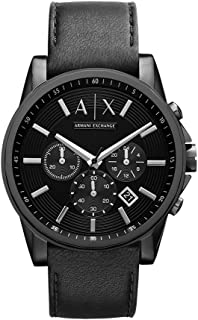 Armani Exchange Black Stainless Steel & Leather Watch AX2098