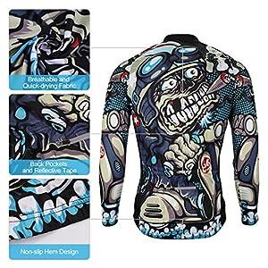 SKYSPER Maillot Ciclismo Hombres Jersey Mangas Largas Pantalones Largos Culotte de Ciclismo Conjunto de Ropa Maillot Entretiempo Invierno para Deportes al Aire Libre Ciclo Bicicleta