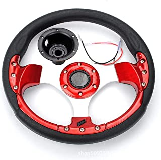 RUNGAO Steering Wheel Fit for 150cc 300cc Go Kart Buggy Quad ATV Red With Horn 320mm