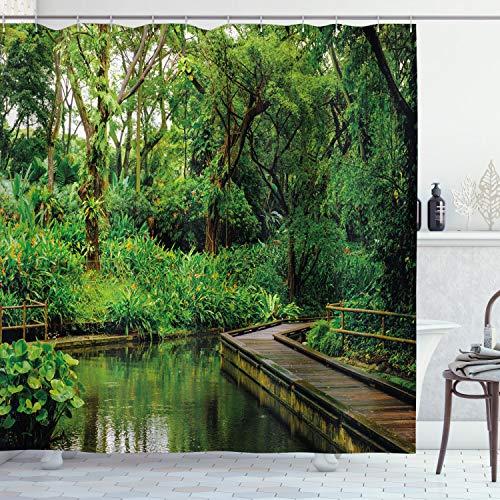 ABAKUHAUS Dschungel Duschvorhang, Wilder Exotische Wald Pier, Moderner Digitaldruck mit 12 Haken auf Stoff Wasser & Bakterie Resistent, 175 x 200 cm, Hunter Grün Braun