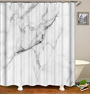 Julifo Shower Curtain White Polyester Fabric Bathroom Curtain Waterproof Shower Curtains,72 X 72 INCH (White)