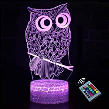 XINGHE 3D-nachtlampje met uil, 16 kleuren, de nachtlampjes voor kinderen met afstandsbediening, dimbaar, LED visueel nacht...