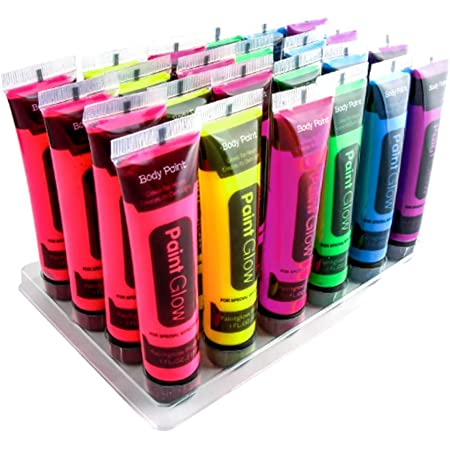 Halloween UV Glow Blacklight Face and Body Paint - 6 Color 24 tubes - Day or Night Stage Clubbing or Costume Makeup