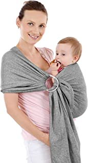 Baby Wrap Carrier Ring Nursing Cover Soft and Perfect Stretch for Newborns, Infants and Toddlers - Great Baby Shower Gift (Gray with Rings)