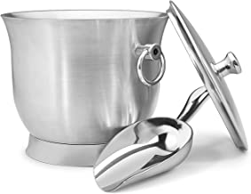 Fortune Candy Insulated Ice Bucket - Double Walled Stainless Steel Ice Bucket with Ice Tongs, Scoop, Lid, and Exclusive Ha...