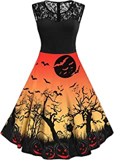 neveraway Women's Tunic Casual Floral Print Lace Patchwork Halloween Swing Dress