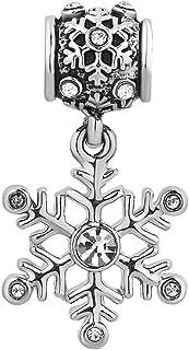 Q&Locket Christmas Shiny Snowflake Charms Dangle Spacer Charm Beads for Bracelets