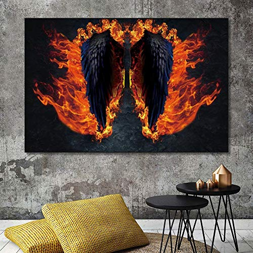 LPaWD Imágenes de Arte de Pared para el diseño del hogar Alas de ángel Pintura de la Lona Decoración nórdica Carteles del hogar Arte Imagen de la Pared Sala de Estar Inicio A4 70X100cm