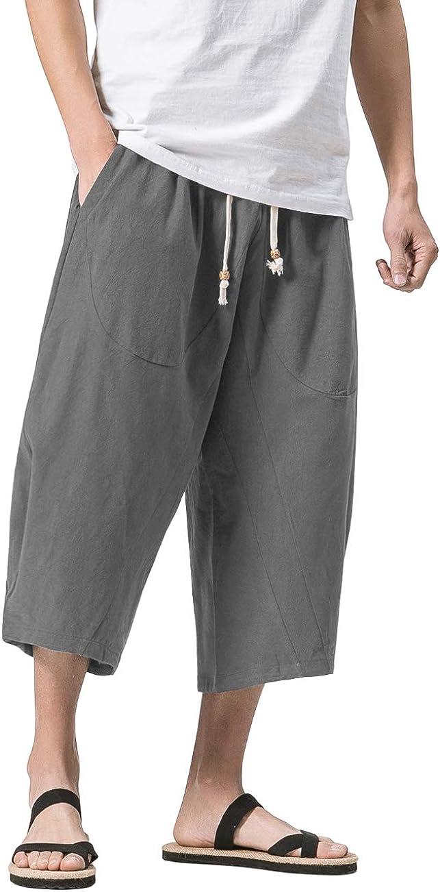 MAGNIVIT Men's Linen Cotton Capri Pants Loose Fit Elastic Waist Wide Leg Baggy Harem Pants