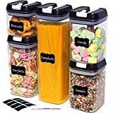 5 PCS Food Storage Containers with Lids, Stackable Kitchen & Pantry Cereal Flour Containers, Airtight Food Containers Set, 8 Free Chalkboard Labels & Marker, Plastic Spaghetti Jar, BPA-Free (Black)