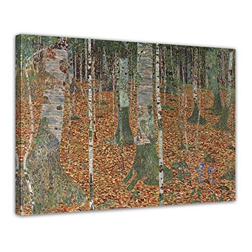 Wandbild Gustav Klimt Birkenwald - 70x50cm quer - Alte Meister Berühmte Gemälde Leinwandbild Kunstdruck Bild auf Leinwand