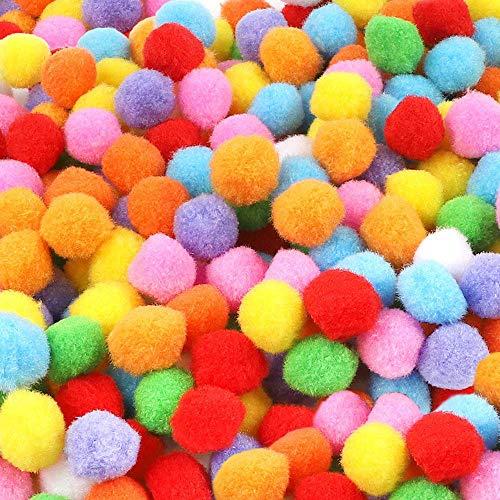 BAKHK 500 Stücke 2.5cm Pompons, Bunte Pompoms Mini Pom Pom Bälle, Flauschigen Plüschbälle für DIY Kreative Handwerk Dekorationen
