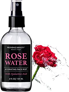 Rose Water Hydrating Face Mist with Hyaluronic Acid | Great Setting Spray | Refreshing, Complexion Balancing & Skin Soothing Spray | Provence Beauty - Natural & Vegan | 4 FL OZ