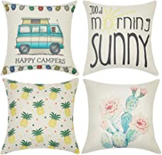 Anickal Summer Camping Decor Set of 4 Decorative Pillow Covers Happy Campers Sunny Pineapple Cactus 18x18 Cotton Linen Pillow Cases for Summer Home Decoration