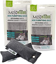 MOSO NATURAL Mini Air Purifying Bag Shoe Deodorizer. Odor Eliminator for Gym Bags, Sneakers and Sports Gear Charcoal Color 4 pack
