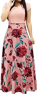 Woman Floral Printing Dress Fashion Elegant Short Sleeve Long Dress Size S