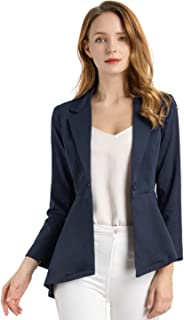 Allegra K Women's Asymmetrical Peplum Blazer Notched Lapel One Button A-Line Office Blazer Jacket