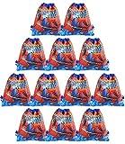 Qemsele Bolsa Mochilas Bolsas de cumpleaños, 12Pcs Tema Reutilizable Bolsas de Fiesta cordón Mochila Bolsas para cumpleaños niños la Fiesta favorece la Bolsa, Rellenos Bolsas Fiesta (Spiderman)