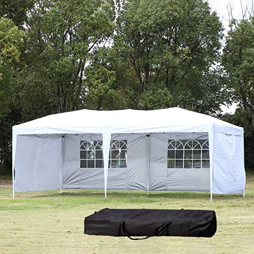 NSdirect EZ Easy Pop Up Canopy Tent Outdoor Portable Party Tent with Carrying Case/Bag Adjustable Folding Gazebo Pavilion Wedding Patio Shelter (10 x 20 ft White with Sidewalls(3 Sides)