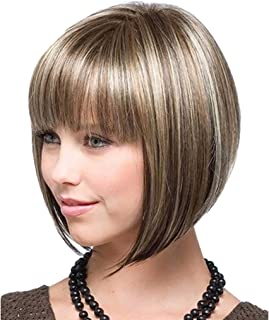 Kedada Womens Wigs Short Hair Bob Wigs with Bangs for Black Women As Human Hair Blonde and Black+Wig Cap Free