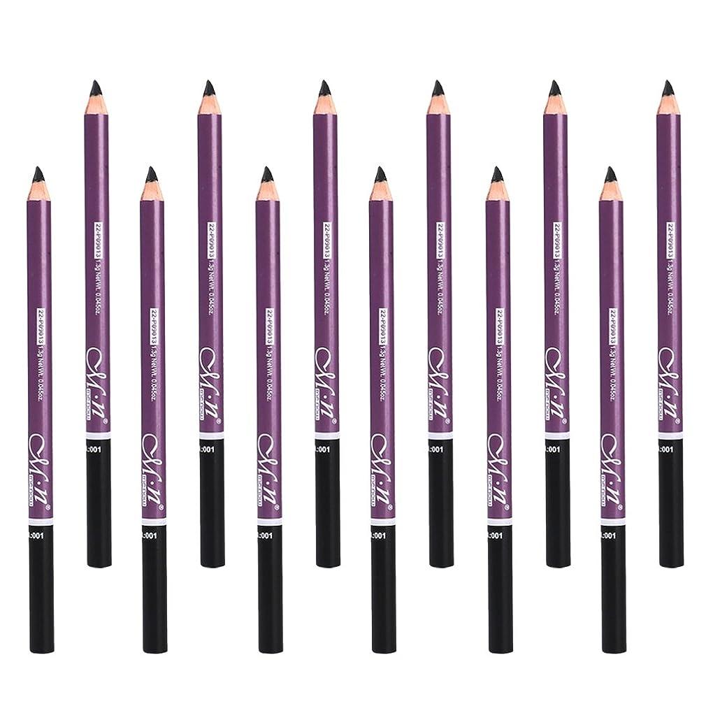 可能性ねばねば形成12本 メイクアップ アイブロウペンシル アイメイク アイブロウ鉛筆 防水 眉毛メイク 3色選べる - ブラック