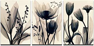 Visual Art Decor X Ray Flowers Canvas Wall Art Decor Retro Floral Painting Prints Photograph Picture Printed on Canvas for Home Bedroom Living Room Office Decoration