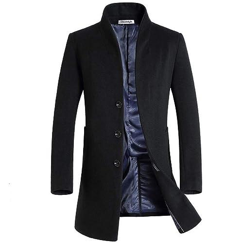 b97a75e4b268 Allthemen Mens Trench Coat Long Slim Fit Wool Cashmere Coat Jacket Outerwear  Trenchcoats Winter Warm Overcoat
