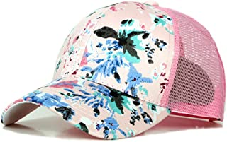 2019 Women Flower Printed Peaked Cap for Unisex Mesh Baseball Cap Adjustable Breathable 6 Panel Summer Sun Hat (Color : 4, Size : Free Size)