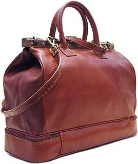 Positano Gladstone Travel Bag in Saddle Brown Italian Calfskin Leather