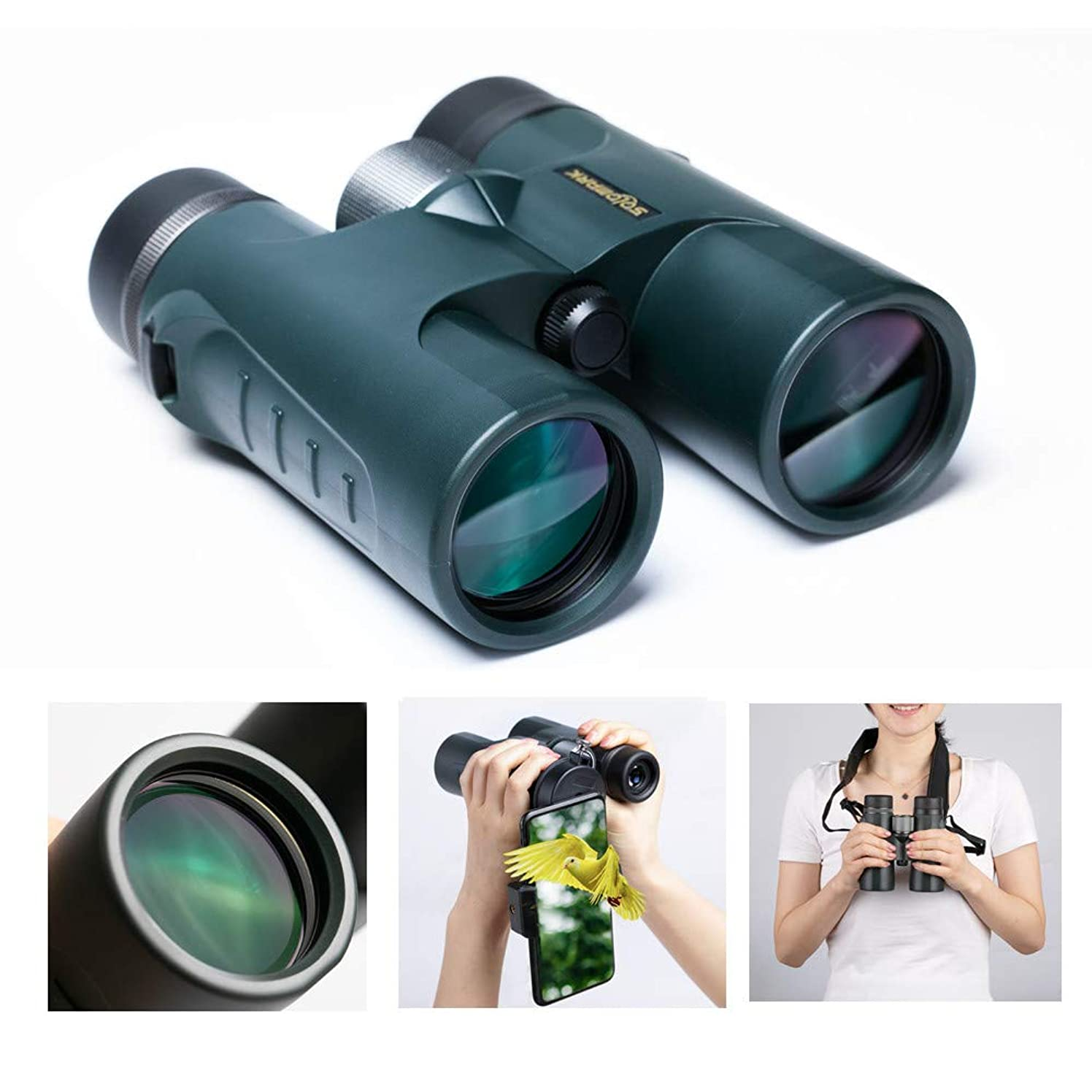 HD 10x42 Roof Prism Binoculars Waterproof for Adults Bird Watching, Large Ocular and Object Lens, Clarity Brightness and Wide Field of View-Lightweight and Compact with HD Green Films Fully MultiCoat