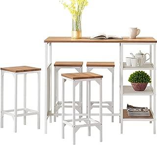 O&K FURNITURE 5-Piece Dining Room Bar Table Set, Modern Industrial Bistro Restaurant Dining Table and Stool Set, Home Kitchen Furniture, Oak Finish