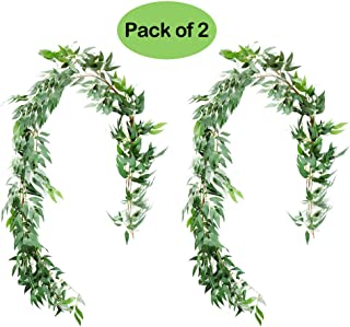 UNIQOOO 5.6 Feet Willow Leaves Garland, Artificial Greenery Wedding Vines | Faux Flower Wreath | Wedding Backdrop, Greenery Table Runner, Arch Decoration Photo Booth Decor, Pack of 2