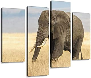 African Elephant and the Ngorongoro Savanna in Tanzania Africa Canvas Print Artwork Wall Art Pictures Framed Digital Print...