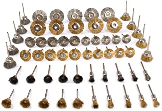 60 Pcs brass steel wire polishing brush Wire Brush Wheel Cup set 1/8