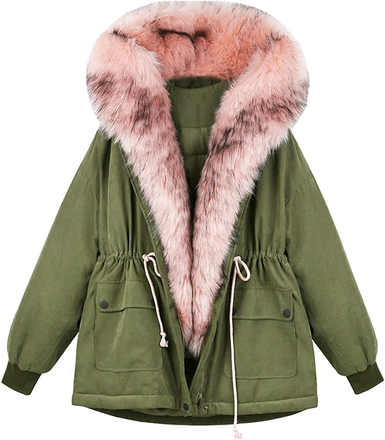 TSINYG Women's Fashion Loose Harajuku Hooded Down Jacket Boyfriend Style Winter Warm Thicken Coat ( color   Green , Size   L )