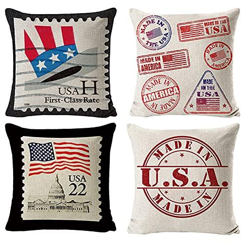 4 Pack Funda de Cojín,65x65cm/26x26in Patrón de la bandera americana Algodón Lino Cuadrada Funda Almohada para Cojín,con Cremallera Invisible Cushion Cover,Living Room Sofa Fundas Cojines Decor Q408