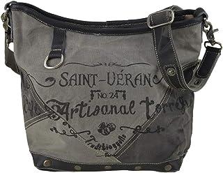 Sunsa Canvas Umhängetasche kleine Damen/Herren Schultertasche Crossbody Tasche mit Leder Damentasche schwarz graue Herrent...