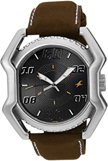 Fastrack Men's Black Dial Leather Band Watch - T3112SL02