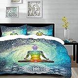 Bedding Juego de Funda de Edredón - Yoga, Mandala Design Zen Meditación Estilo Hippie con Signo Chakra Lámina, Turquesa A/Microfibra Funda de Nórdico y Fundas de Almohada - (Cama 150 x 200cm)