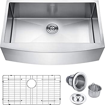 Keonjinn Kitchen Sink, 33-inch Apron-front Farmhouse 16 Gauge Stainless Steel Single Bowl