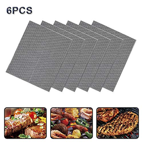 FYS Non Stick Grill Mesh Mats 6PCS-Nonstick Heavy Duty BBQ Grilling & Baking Accessories Reusable,and Easy to Clean - Works on Electric Grill Gas Charcoal BBQ - Extended Warranty-Can be Cut,Black