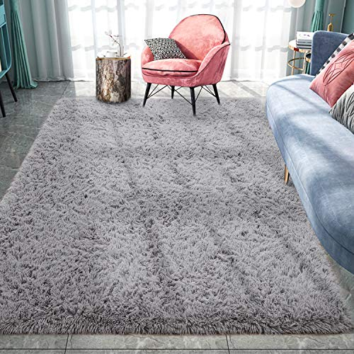 Pacapet Fluffy Area Rugs, Grey Shag Rug for Bedroom, Plush Furry Rugs for Living Room, Fuzzy Carpet for Kid