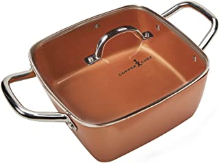Copper Chef 11 Inch Casserole Pan Set - Deep Square Pan With Glass Lid with 9.5 Inch Fry Basket and Steamer Plate with Multi Use Stainless Steel Induction Plate PTFE & PFOA Free