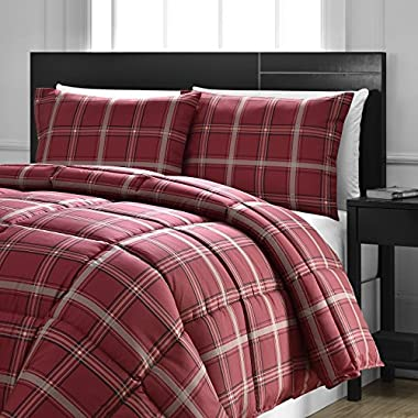 Comfy Bedding Red Plaid Down Alternative 2-piece Comforter Set (Red, Twin)