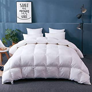 APSMILE Fusion Hungarian Goose Down Comforter Lightweight for Summer Warmer Weather/Sleeper, Ultra-Soft Pima Cotton, 29oz 750FP Thin Duvet Inserts (Full/Queen, White)
