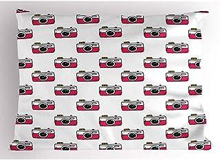 4 Piezas 18X18 Pulgadas Funda De Almohada RetroIlustración De Cámaras Elementos Antiguos De Tecnología Elementos FotográficosDecoración Para El Hogar Funda De Almohada Impresa Tamaño Queen Estándar